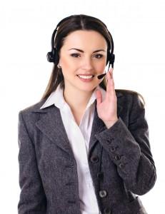 Cute business customer service woman